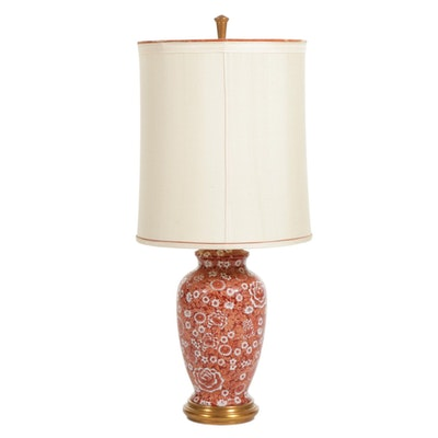 Marbro Original Chinese Orange and White Thousand Flowers Style Table Lamp