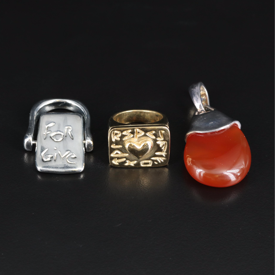 Robert Lee Mom's Studio Sterling and Brass Collection with Carnelian Pendant