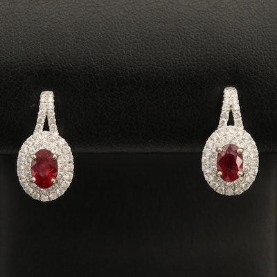18K Ruby and 0.70 CTW Diamond Earrings