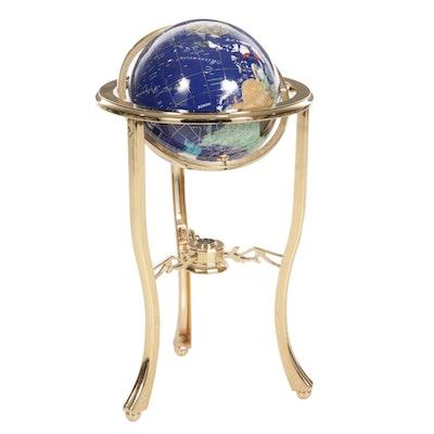 Inlaid Stone World Globe and Compass on Brass Stand, 21st Century