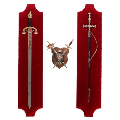 Decorative Fantasy Sword Mounts with Armorial Style Wall Hanging