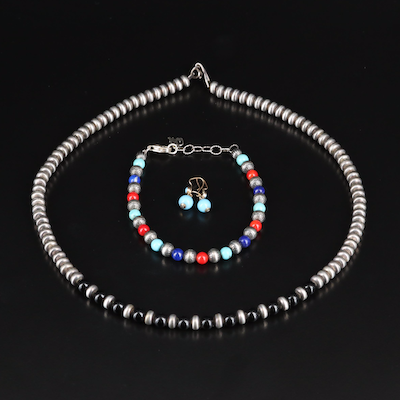 14K Turquoise Earrings with Sterling Beaded Bracelet and Necklace