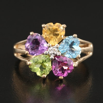 10K 0.01 CT Diamond Ring Surrounded by Multiple Gemstones