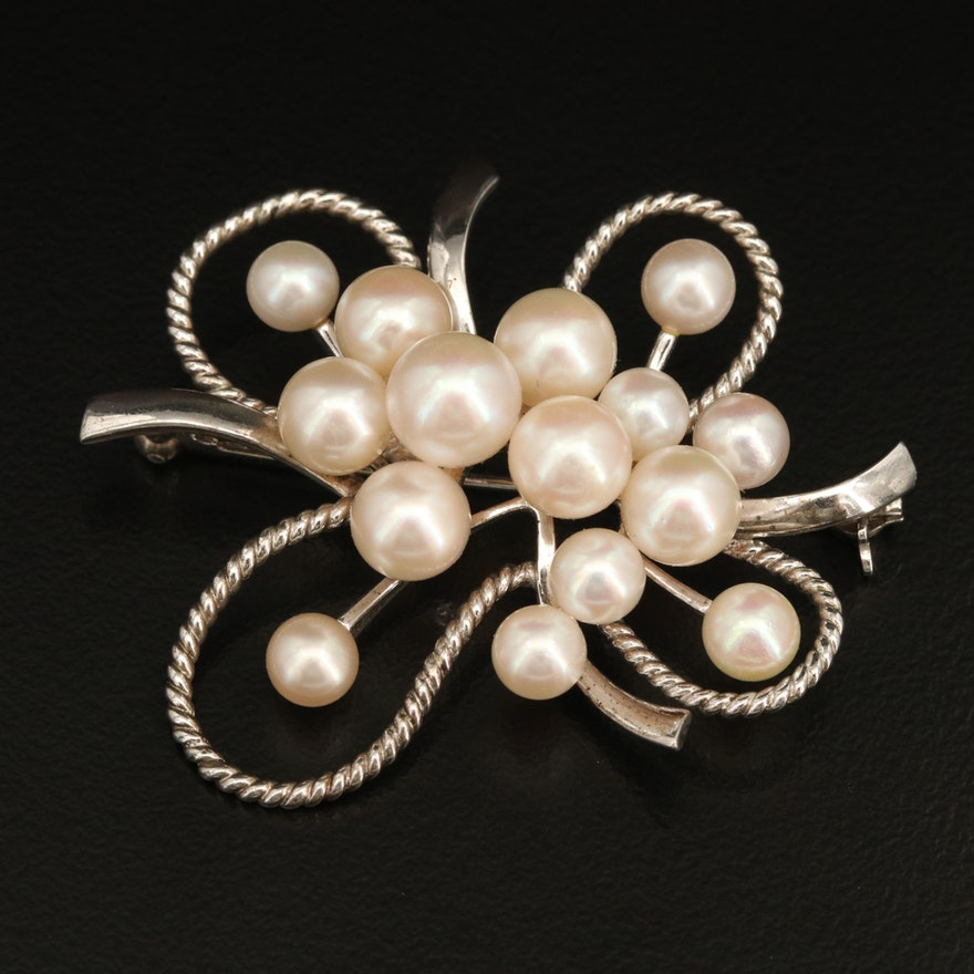 Vintage Mikimoto Sterling Pearl Cluster Brooch