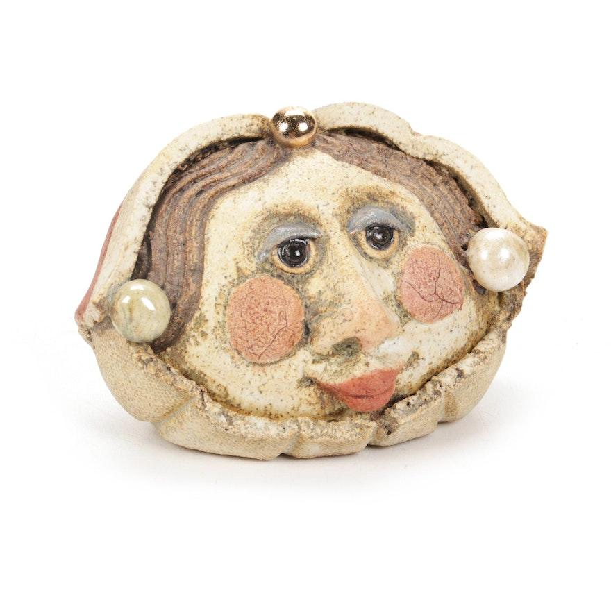 "Art Pottery ""Shakespeare's Wife"" Ceramic Rattle"