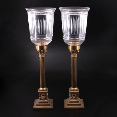 Brass Corinthian Column Style Candlesticks with Glass Hurricane Shade