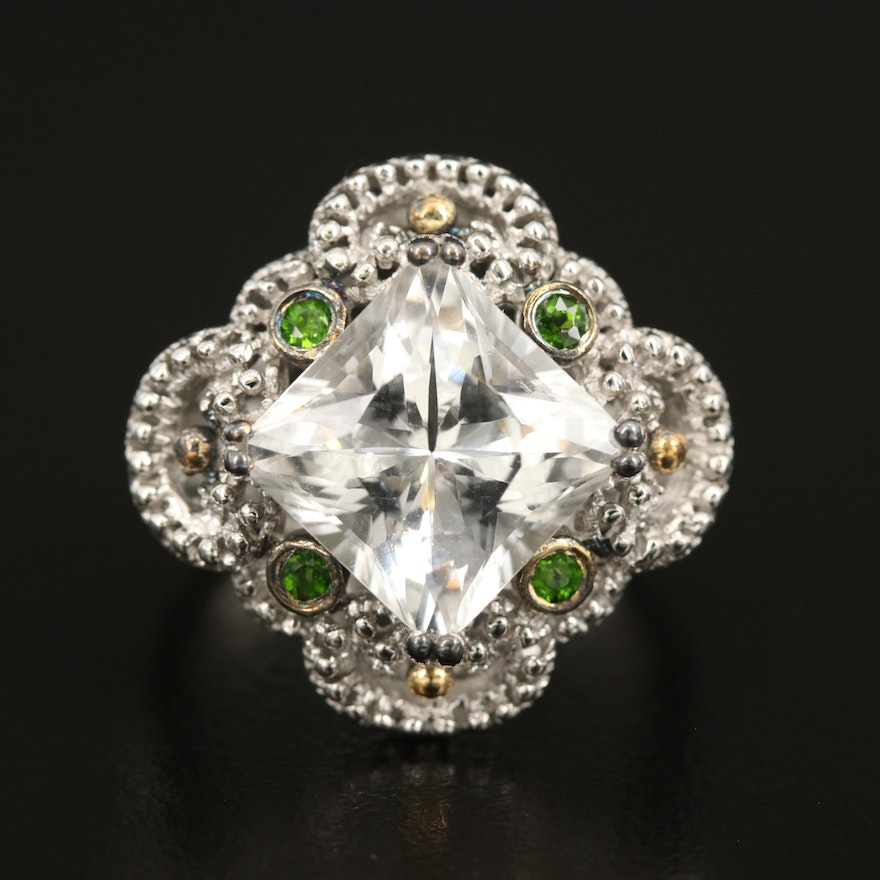 Sterling Topaz and Diopside Openwork Ring