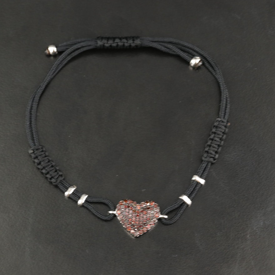 Sterling Fancy Orange Pavé Diamond Heart Cord Bracelet