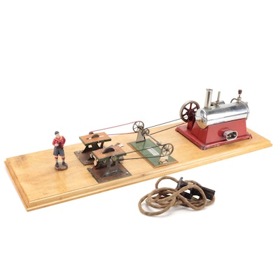 Weeden Model Steam Engine with Circular Saw and Emery Wheel Attachments