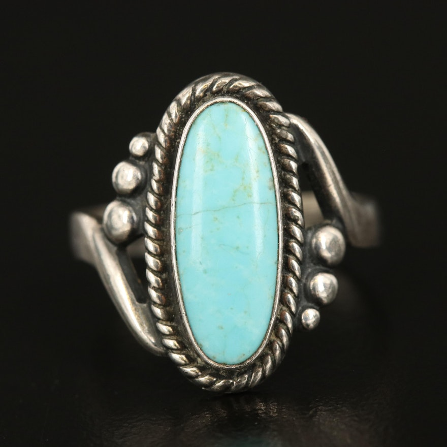 Bell Trading Post Sterling Faux Turqouise Braided Ring