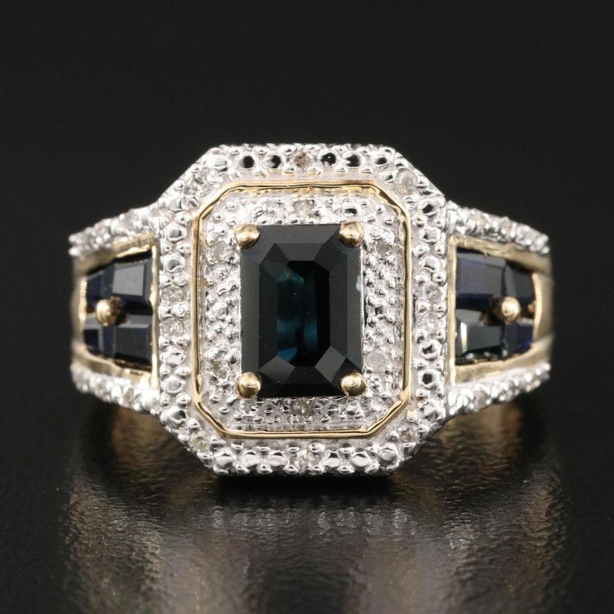 10K Sapphire and 0.13 CTW Diamond Ring