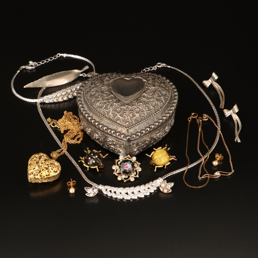 Jewelry Grouping Including Heart Box, 14K, Sterling, Stewart Nye and Krementz