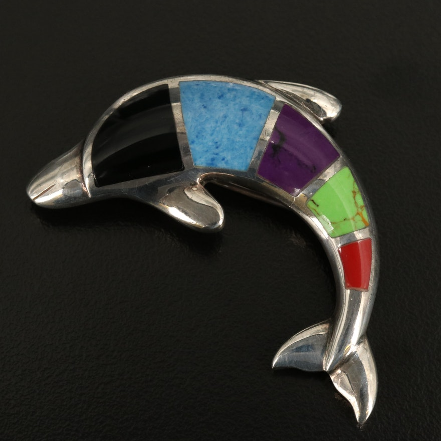 Sterling Dolphin Converter Brooch with Black Onyx and Faux Gemstone Inlay