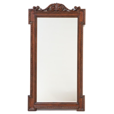 Monumental Neoclassical Style Carved Hardwood Mirror