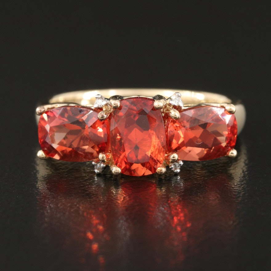 10K Andesine and Diamond Ring