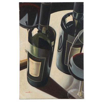 Realist Oil Painting of Wine Bottles, 21st Century