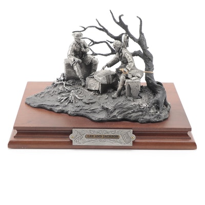 """Francis Barnum for Chilmark """"Lee and Jackson"""" Pewter Sculpture, 1990"""