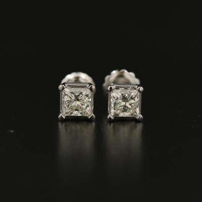 14K 0.93 CTW Diamond Solitaire Stud Earrings