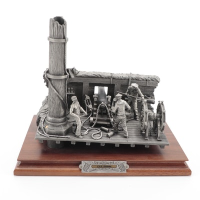 """Francis Barnum for Chilmark """"C. S. S. Alabama"""" Pewter Sculpture, 1994"""