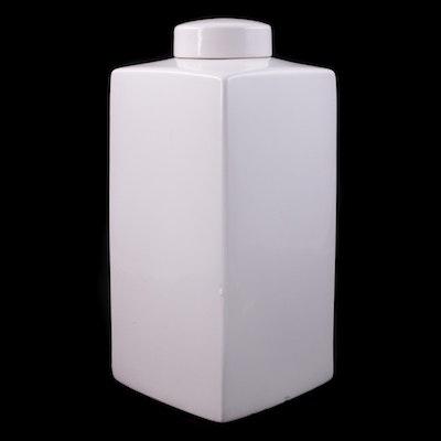 White Glazed Square Ceramic Tea Canister