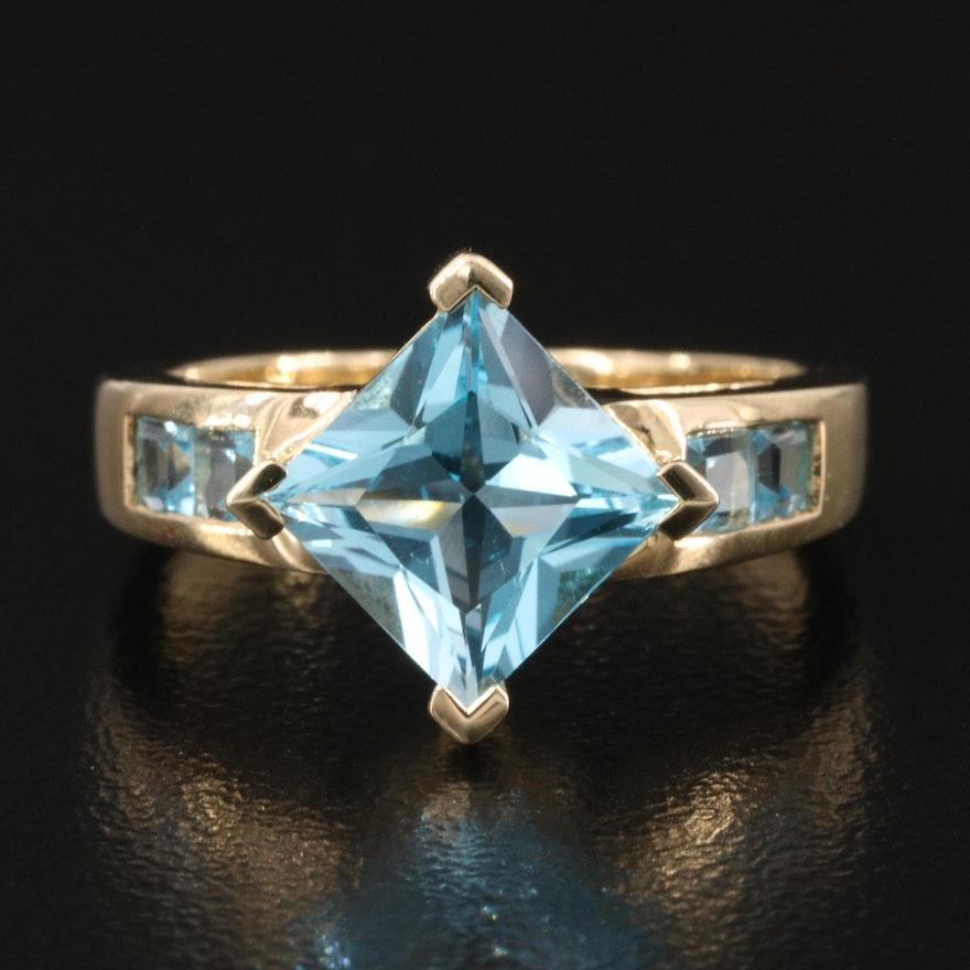 10k Swiss Blue Topaz Ring
