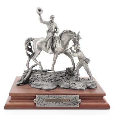 """Francis Barnum for Chilmark """"Lee to the Rear"""" Pewter Sculpture, 1989"""