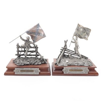 """F. Barnum for Chilmark """"Stars and Bars"""" and """"VMI New Market"""" Pewter Sculptures"""