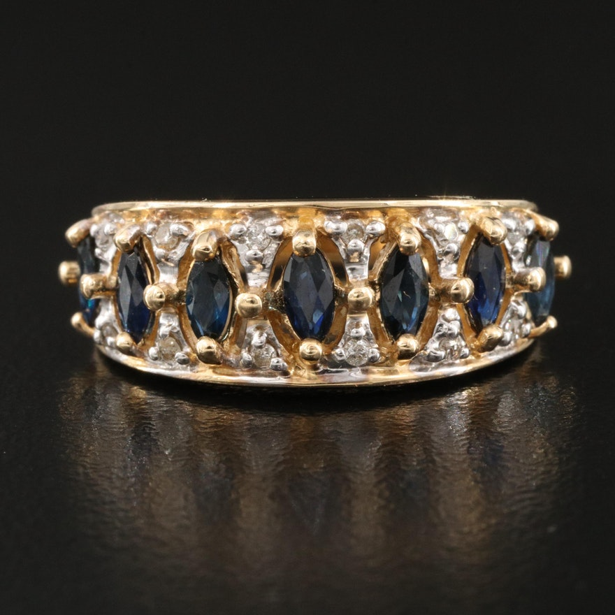 14K Sapphire and Diamond Tapered Band