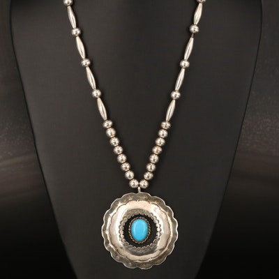 Sterling Turquoise Shadow Box Pendant and Bench Bead Necklace