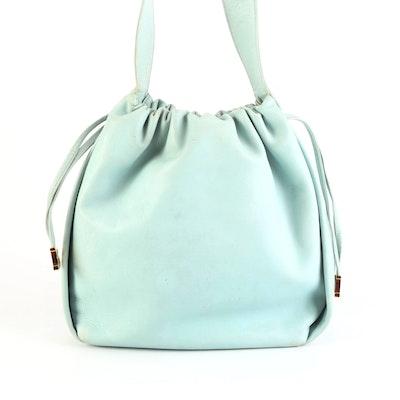 Bally Drawstring Shoulder Bag in Light Blue Leather