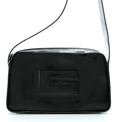 Gucci Shoulder Bag in Black Polished Leather with Logo Embossment