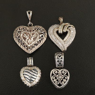 Sterling Heart Pendant Collection with Diamond and Mother of Pearl