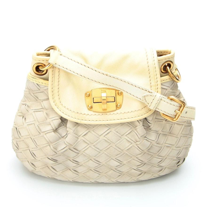 Miu Miu Shoulder Bag in Woven Suede with Leather Trim