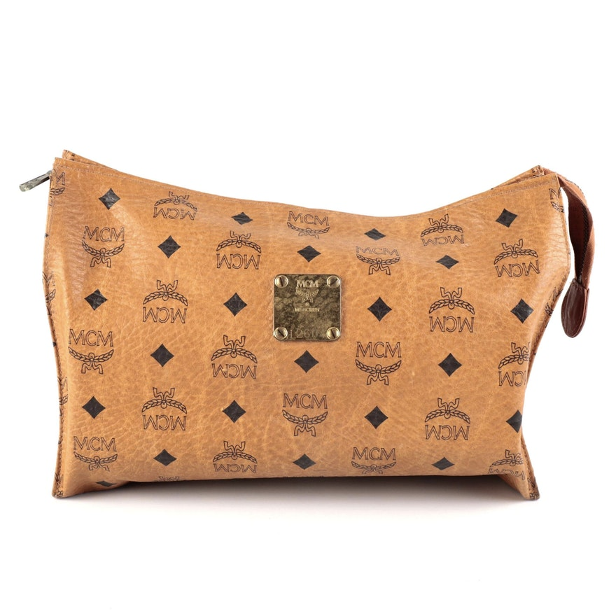 MCM Travel Pouch in Cognac Visetos Coated Canvas