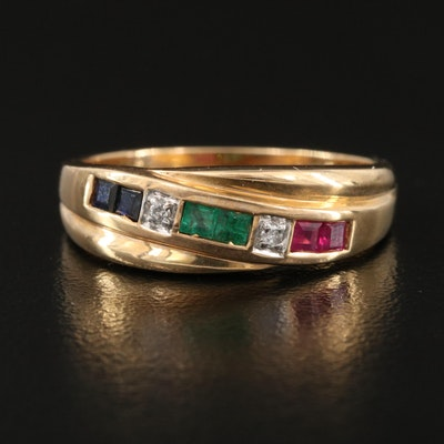 14K Ruby, Emerald, Sapphire and Diamond Ring