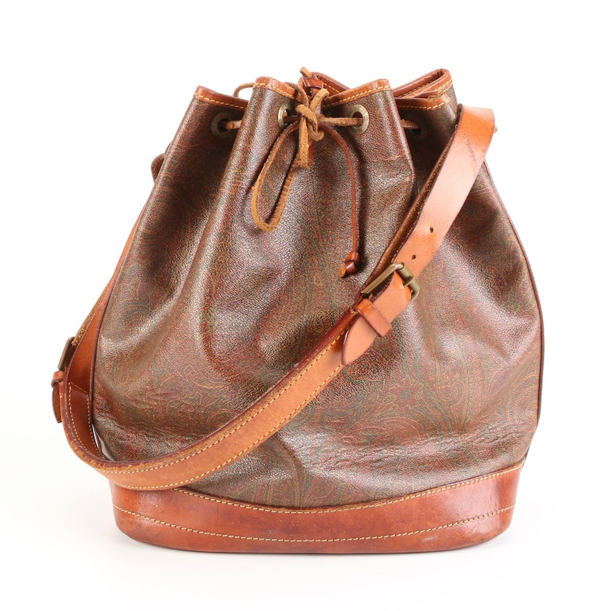 ETRO Bucket Bag in Paisley Coated Canvas with Leather Trim