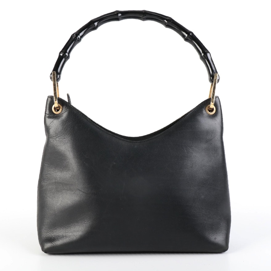 Gucci Handbag in Black Leather with Black Bamboo Handle
