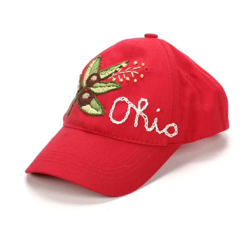 "Hand-Embroidered ""Ohio"" Baseball Cap"