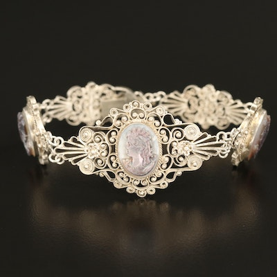 Vintage Sterling Filigree Cameo Bracelet with Cannetille Accents