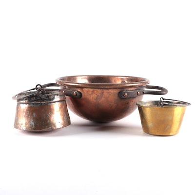 Patinated Copper and Brass Buckets and Whisking Bowl