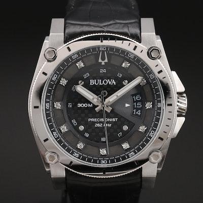 Stainless Steel Bulova Precisionist Wristwatch with Diamonds