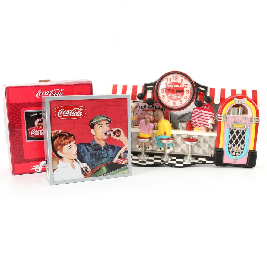 Coca-Cola Diner Themed Wall Clock and Two-Sided Accent Lamp