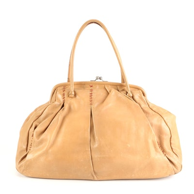 Miu Miu Large Domed Satchel Bag in Light Tan Leather with Contrast Stitching