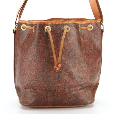 ETRO Paisley Coated Canvas and Leather Drawstring Shoulder Bag