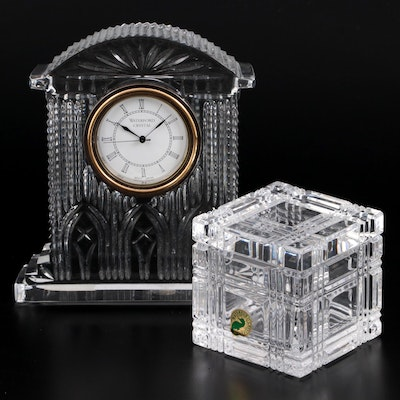 """Waterford Crystal """"Westminster"""" Decorative Clock and """"Crosby"""" Vanity Box"""
