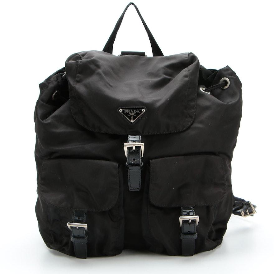 Prada Backpack in Black Tessuto Nylon with Leather Trim