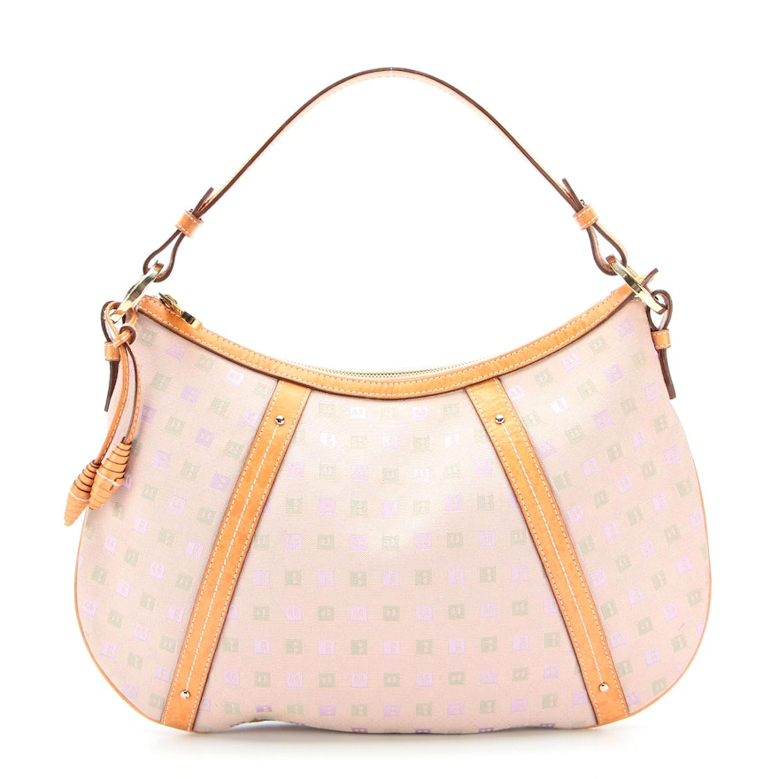 Bally Jakima Shoulder Bag in Monogram Canvas with Leather Trim
