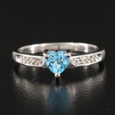 10K Swiss Blue Topaz and 0.01 CTW Diamond Heart Ring