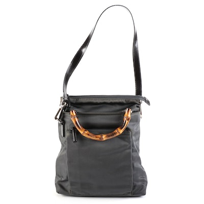 Gucci Handbag in Nylon Twill with Bamboo Handles and Detachable Leather Strap