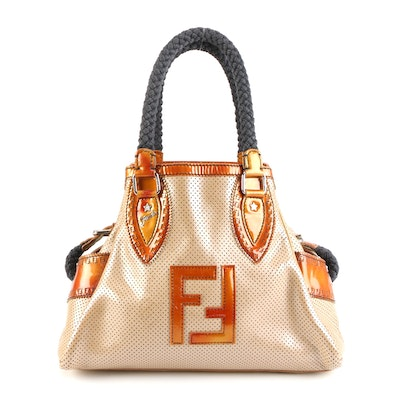 Fendi Handbag in Perforated and Patent Leather with Braided Handles